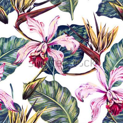 Plakat Kwiecisty bezszwowy tropikalny wzór, lata tło z egzotycznymi kwiatami, palmowymi liśćmi, dżungla liściem, orchideą, ptaka raju kwiat. Tapeta botaniczna, ilustracja w stylu hawajskim