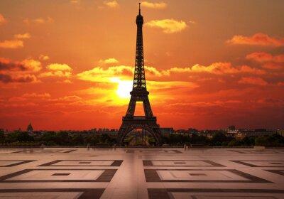 Plakat La Tour Eiffel dal Trocadero all'alba