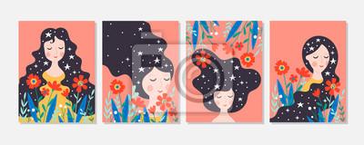 Plakat Ładny kartkę z życzeniami na dzień kobiet zestaw z młodą kobietą i kwiatami.