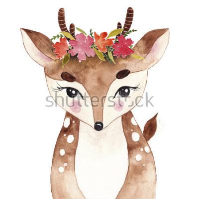 Plakat Ładny płowy. Jeleń. akwarela zwierząt. Dzikie zwierze. Zwierzę leśne. Sztuka T-shirtów.