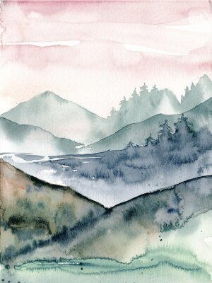 Plakat Landscape, watercolor mountain, hand painting. Perfectly for poster, card.