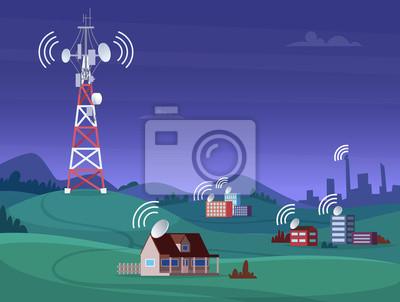 Plakat Landscape wireless tower. Satelite antena mobile coverage television radio cellular digital signal vector illustration. Communication antenna tower for internet broadcast