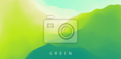 Plakat Landscape with green mountains. Mountainous terrain. Abstract nature background. Vector illustration.