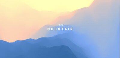 Plakat Landscape with mountains and sun. Sunrise. Mountainous terrain. Abstract background. Vector illustration.