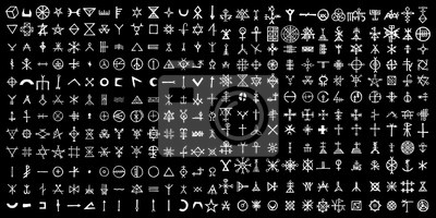 Plakat Large set of alchemical symbols on the theme of old manuscript with occult lyrics alphabet and symbols. Esoteric written signs inspired by medieval writings. Vector