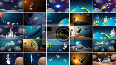Plakat Large set of different space scenes