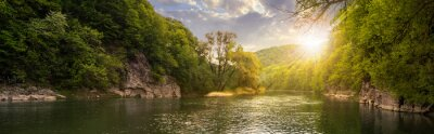 Plakat las rzeka z kamieni na wybrzeżu na zachód słońca