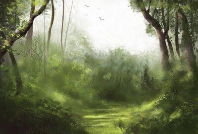 Plakat Lasowa ilustracja chmurny nudny dzień w lesie z ptakami lata w niebie