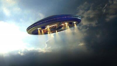 Plakat Latający spodek UFO Alien przez chmury nad Ziemią