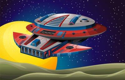 Plakat latający statek kosmiczny w ciemnym pomieszczeniu