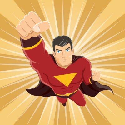 Plakat Latanie Superhero z zaciśniętej pięści gotowe do walki