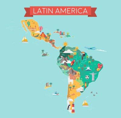 Plakat Latin America map. Tourist and travel landmarks