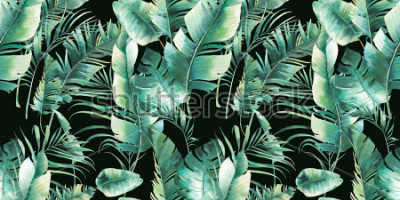 Plakat Lato palmy i banana pozostawia wzór. Akwarela tekstury z zielonymi gałęziami na czarnym tle. Ręcznie rysowane tropikalny wzór tapety