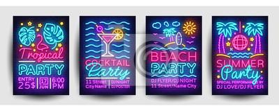Plakat Lato party plakaty kolekcja neon wektor. Szablon projektu strony lato, jasny neon broszury, nowoczesny trend projektu, banner światła, zaproszenia typografii na imprezę, pocztówki reklamowe. Wektor
