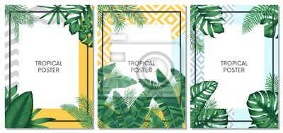 Plakat Lato tropikalny wektor zestaw projekt karty, plakat lub ulotki z egzotycznych liści palmowych