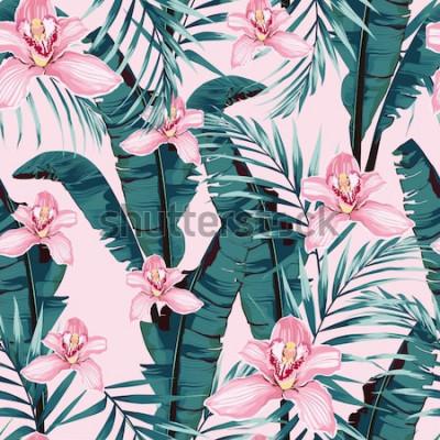 Plakat Lato zwrotnik malarstwo wzór z liści bananowca palmowego i roślin. Różowe kwiaty orchidei w kwiatowej dżungli Modna wiązka egzotycznego kwiatu tapeta na różowym tle.