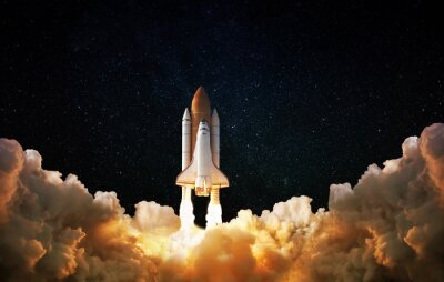 Plakat Launch of Space,Spaceship takes off into the night sky.Rocket starts into space concept.Elements of this image furnished by NASA