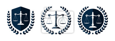 Plakat Law firm logo set. Law office logotypes set with scales of justice. Symbols of legal centers or law advocates. Scales of justice icons.
