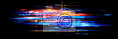 Plakat Led Light. Abstract effect. Future tech. Glare cubes. Digital cpu signal. .Shine grid. Modern big data. Neon flare. Quantum computer net system. .Magic code. Grid HUD lines. Web device. Blocks system.