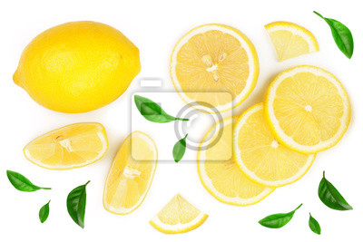 Plakat lemon and slices with leaf isolated on white background. Flat lay, top view