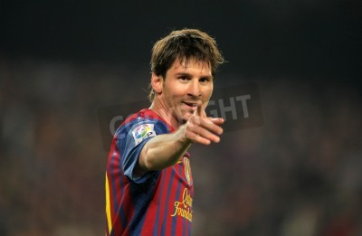 Plakat Leo Messi of FC Barcelona in action during the Spanish league match against Athletic Club Bilbao at the Camp Nou stadium on March 31, 2012 in Barcelona, Spain