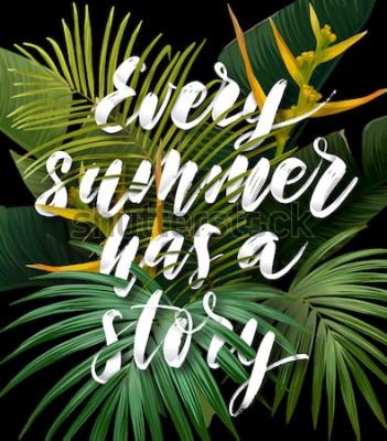 Plakat Letni tropikalny plakat z liśćmi palm sabalowych i bananowych, egzotycznymi kwiatami strelitzii i ręcznie rysowanym zintegrowanym napisem z efektem 3d. Ilustracji wektorowych.