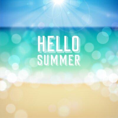 Plakat Letnie wakacje tropikalna plaża tle