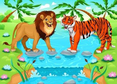 Plakat Lew i tygrys razem w dżungli
