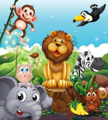 Plakat Lew nad pniu otoczony zabawy zwierząt