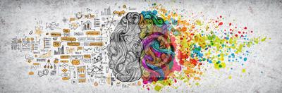 Plakat Lewy prawy ludzki mózg pojęcie, textured ilustracja. Kreatywna lewa i prawa część ludzkiego mózgu, części emocjonalne i logiczne z częściami społecznościowymi i biznesowymi doodle ilustracji lewej str
