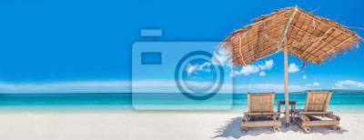 Plakat Leżaki na plaży