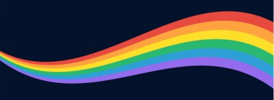 Plakat LGBT Pride Flag Wave Background. LGBTQ Gay Pride Rainbow Flag Illustration Isolated on Dark Background. Vector Banner Template for Pride Month