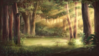 Plakat Light and forest - Afternoon , Anime background , Illustration.