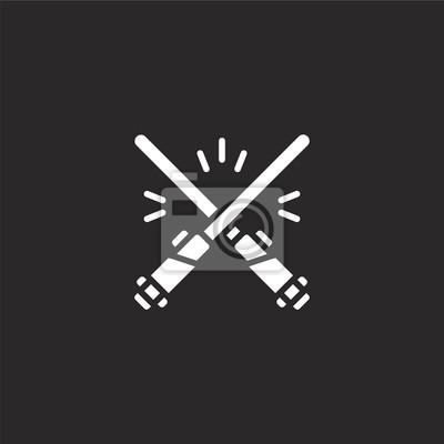 Plakat light saber icon. Filled light saber icon for website design and mobile, app development. light saber icon from filled sci fi collection isolated on black background.