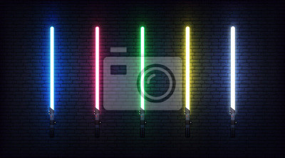 Plakat Light saber set. Futuristic realistic laser weapon