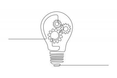 Plakat Lightbulb with gear wheels in One single Line drawing for logo, emblem, web banner, presentation. Simple creative innovation concept. Vector illustration