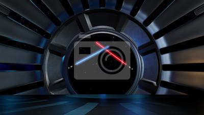 Plakat Lightsaber w przestrzeni kosmicznej, gotowy do komp swojej characte