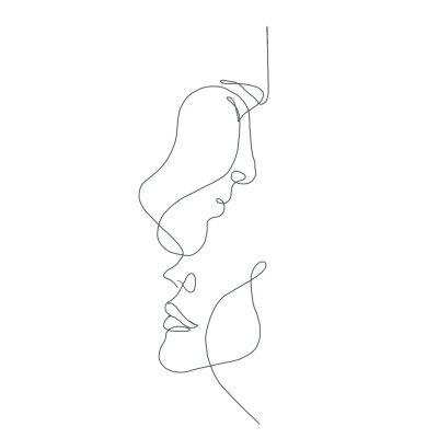 Plakat line drawing faces, fashion concept, woman beauty minimalist, vector illustration for t-shirt, slogan design print graphics style