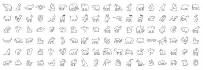 Plakat Linear collection of Animal icons. Animal icons set. Isolated on White background