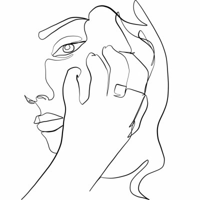 Plakat Linear glamour woman in minimal style with ring. Promotion logo design for jewelry. Linear female beauty simple face. Continuous line.