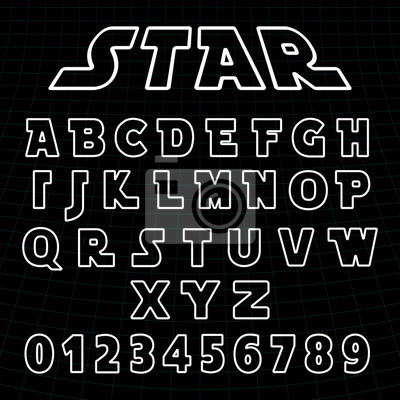 Plakat Lines alphabet font template. Set of letters and numbers futuristic design
