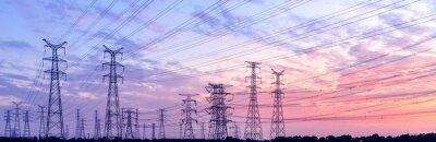 Plakat linie wysokiego napięcia o zachodzie słońca, wieża elektroenergetyczna wysokiego napięcia