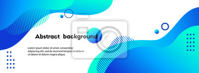 Plakat Liquid abstract background. Blue fluid vector banner template for social media, web sites. Wavy shapes