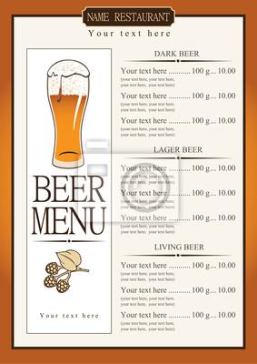 Plakat Lista menu do piwa