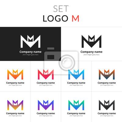 Plakat Litera M Logo Ustaw Abstrakcyjna Ikonę Podwójnego M Z