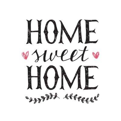 Plakat liternictwo ręcznie cytat o domu