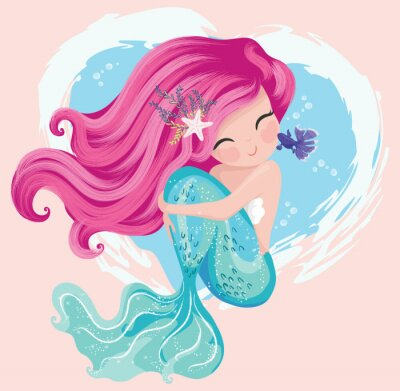 Plakat Little cute mermaid with fishes and seashells. Book illustration, fashion artworks, t shirt graphics.