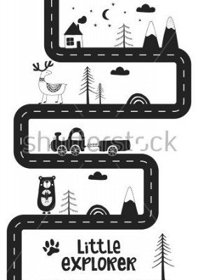 Plakat Little explorer - Cute hand drawn nursery poster with road, wild animals and car. Unique card in black and white scandinavian style. Monochrome vector illustration.