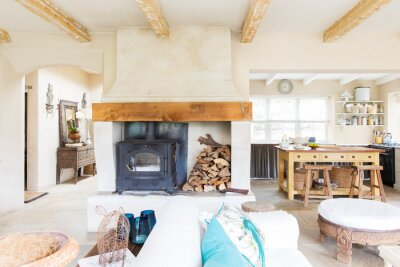 Plakat Living room and kitchen of rustic house