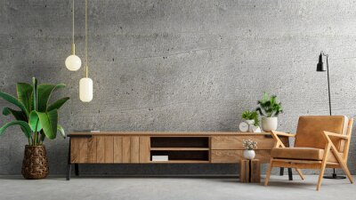 Plakat Living room interior have cabinet for tv and leather armchair in cement room with concrete wall.